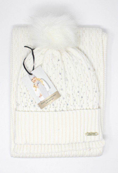 Something Special Off-White Pearl Diamante Hat and Scarf Set