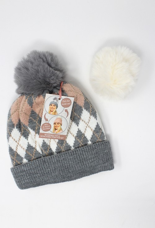 Something Special Grey Reversible Hat with Detachable Pompoms Gift Set