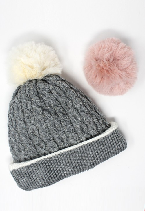 Something Special Off-White Reversible Hat with Detachable Pompoms Gift Set