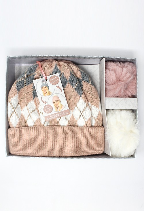 Something Special Dusty Pink Reversible Hat with Detachable Pompoms Gift Set