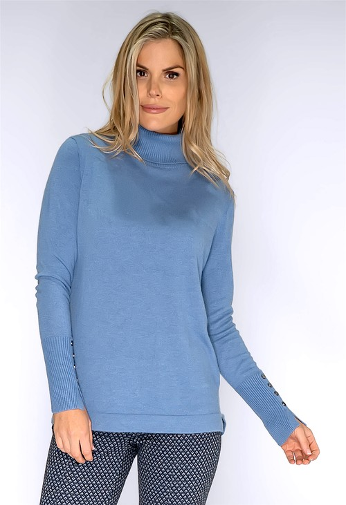 Bianca Powder Blue Polo Neck Knit