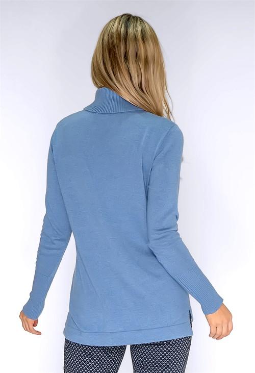 Bianca Powder Blue Polo Neck Knit