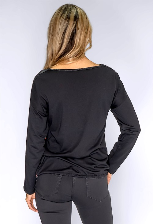 Betty Barclay Black Geometric Print Top with Diamante Details