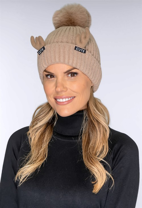 Pamela Scott Cute Taupe Bobble Hat
