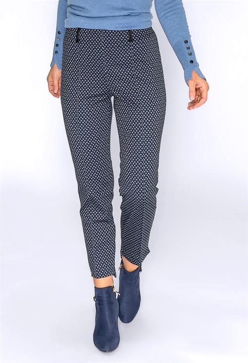 Bianca Navy Geometric Print Trousers