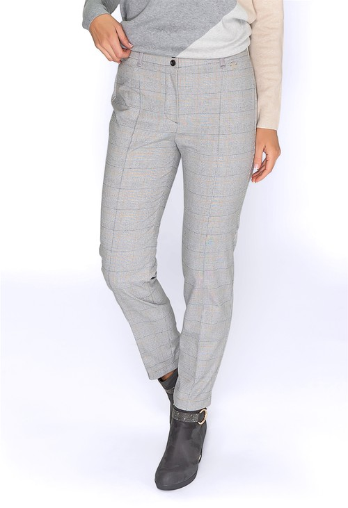 Bianca Grey Checked Trousers