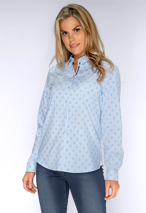 Bianca Blue Pinstripe Shirt with Circle Print