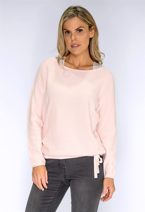 Monari Rose Pullover with Silver Rhinestone Details