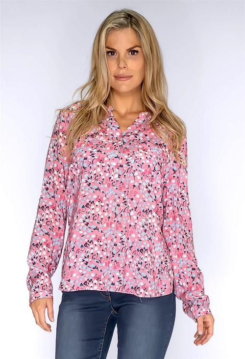 Twist Pink Cotton Print Shirt