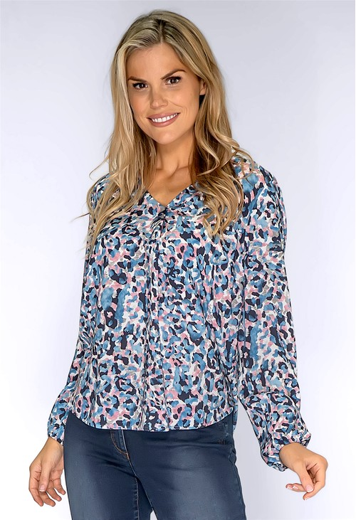 Twist Dusty Pink and Blue Leopard Print Shirt