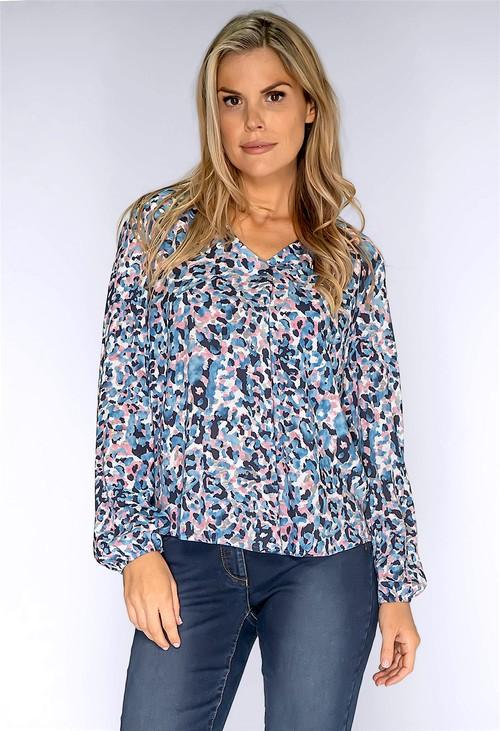 Twist Dusty Pink and Blue Leopard Print Shirt