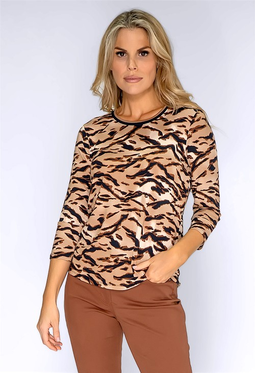 Betty Barclay Beige Crew Neck Printed Top