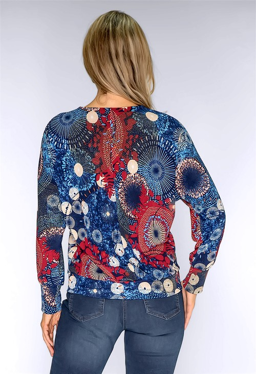 Sophie B Navy Abstract Print Top