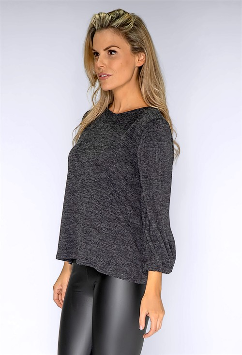 Zapara Grey Plisse Sleeve Knit