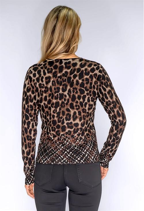 Betty Barclay Brown Fine Knit Leopard Cardigan