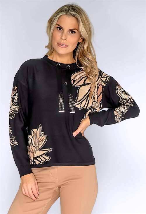 Betty Barclay Black Printed Fine Knit Sweater