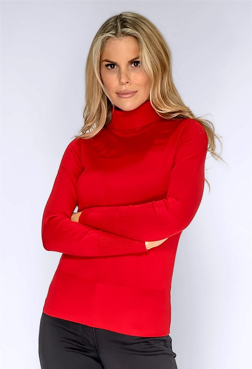 Betty Barclay Red Knit Turtleneck