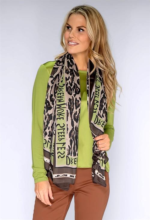 Betty Barclay Green Leopard Print Silk Feel Scarf