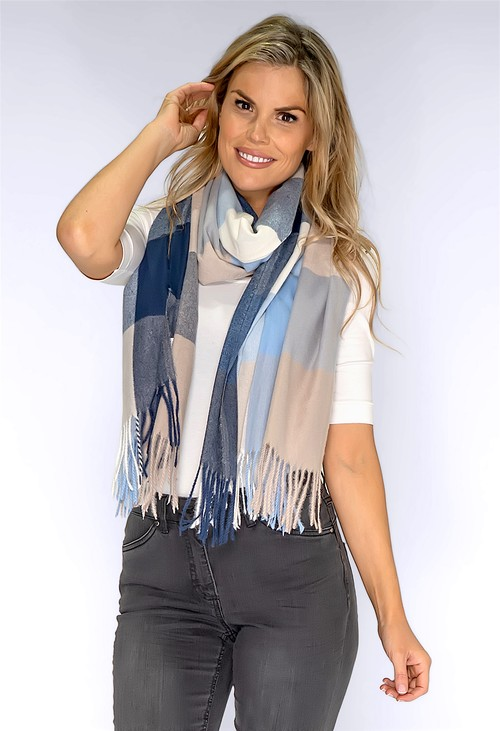 PS Accessories Mixed Blue Checked Scarf