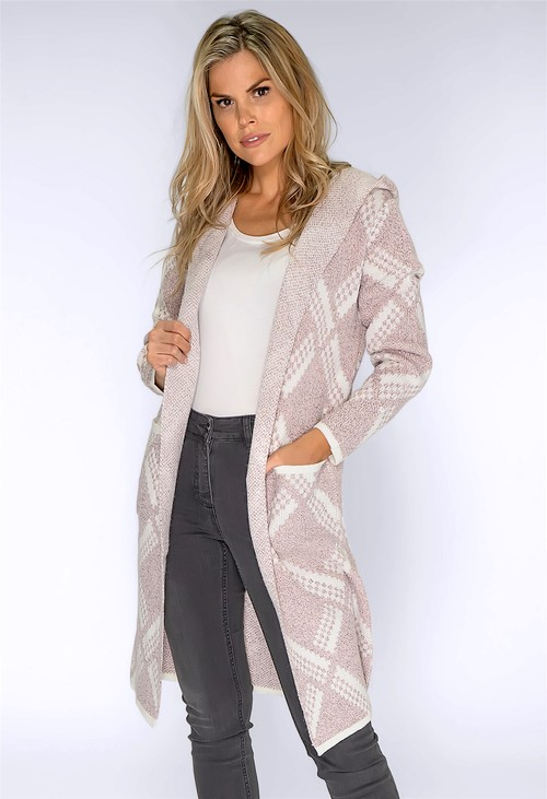 Pamela Scott Blush and Cream Knit Cardigan