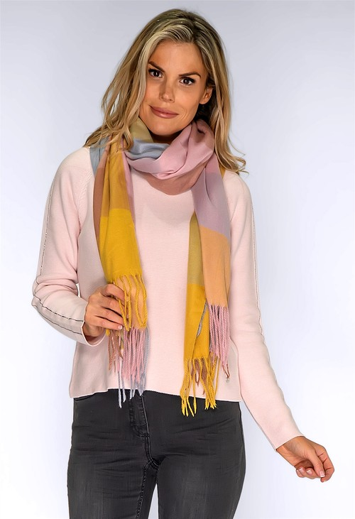 PS Accessories Dusty Pink and Yellow Checked Scarf