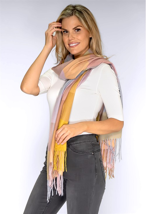 Pamela Scott Dusty Pink and Yellow Checked Scarf