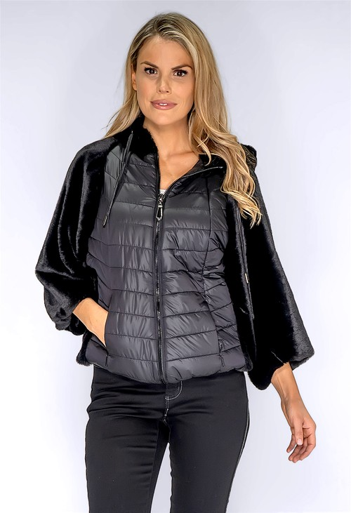 ICON Black Faux Fur Jacket with Quilted Front