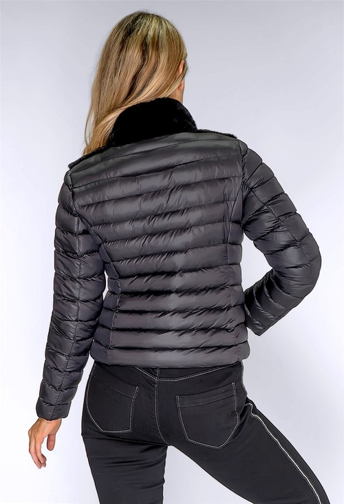 ICON Black Quilted Jacket with Faux Fur Front