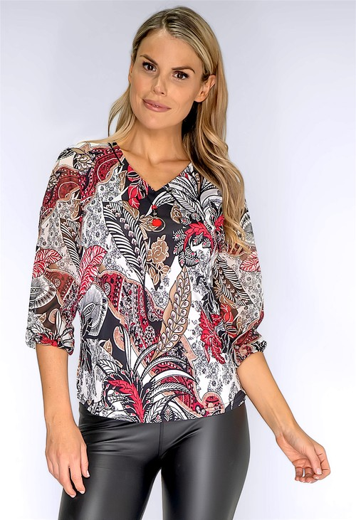 Sophie B Red Paisley Print Blouse