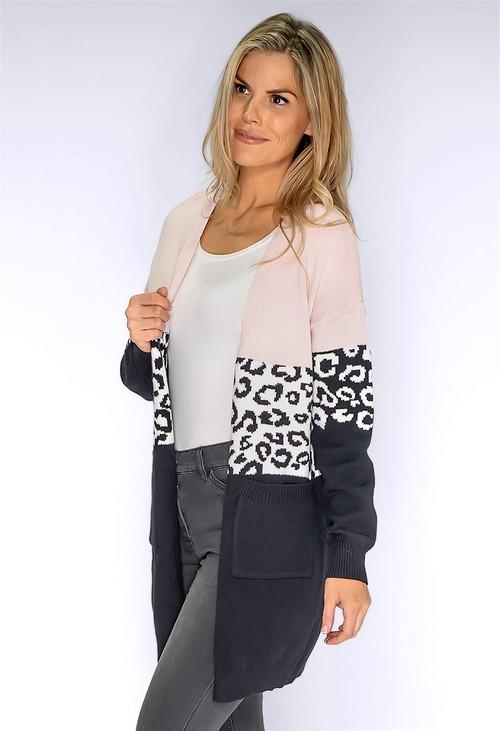 Pamela Scott Blush Leopard Panelled Cardigan