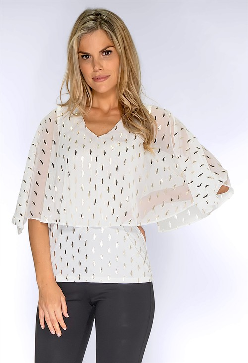 Zapara Off-White and Gold Layered Top