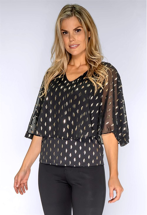Zapara Black and Gold Layered Top