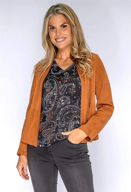 Zapara Tan Plisse Jacket