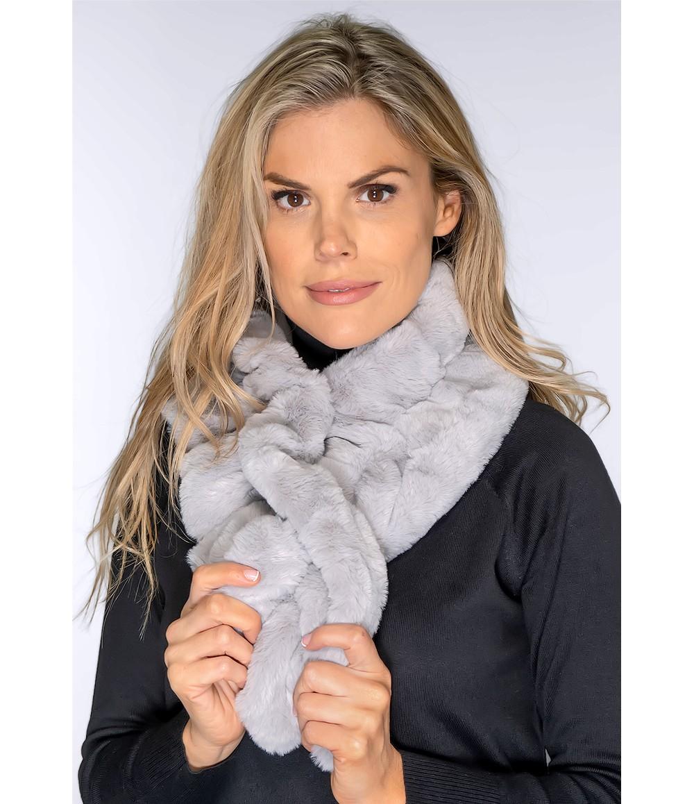 PS Accessories Faux Fur Light Grey Snood