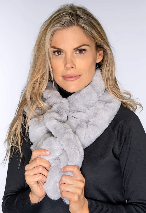 Pamela Scott Faux Fur Light Grey Snood