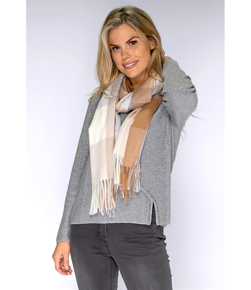 PS Accessories Grey and Beige Check Scarf