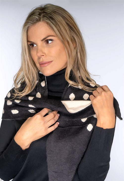 Pamela Scott Black and Cream Triangle Shawl