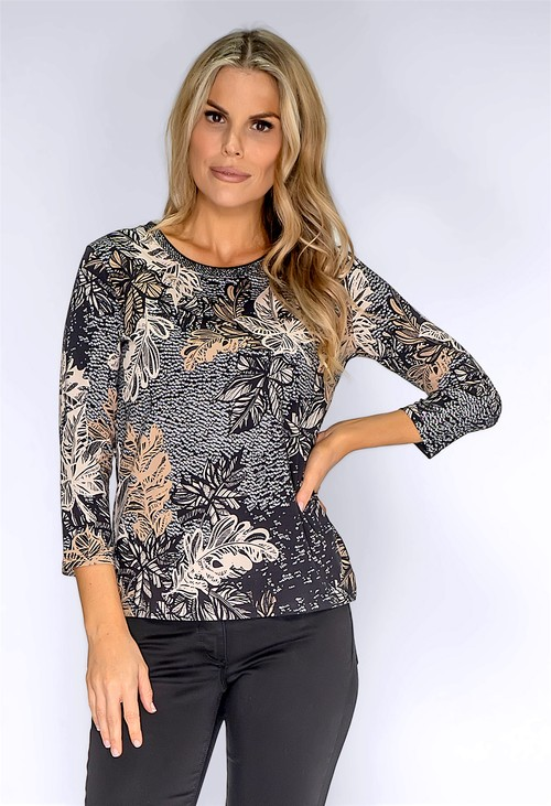 Betty Barclay Black Leaf Print Top