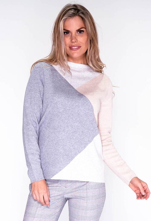 Bianca Grey Triangle Design Knit