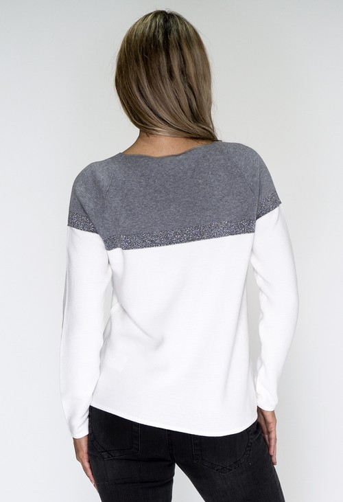 Monari Off White and Grey Pullover