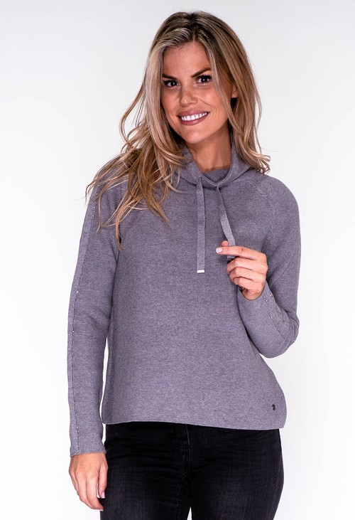 Monari Grey Rhinestone Detailed Pullover