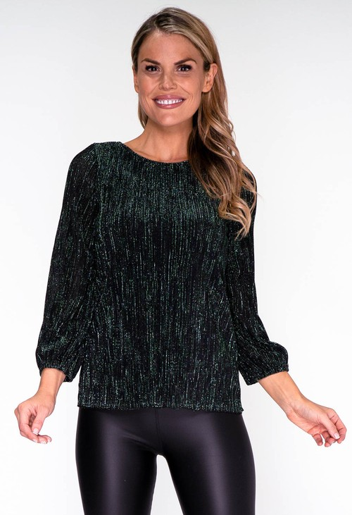 Zapara Metallic Green Plisse Top