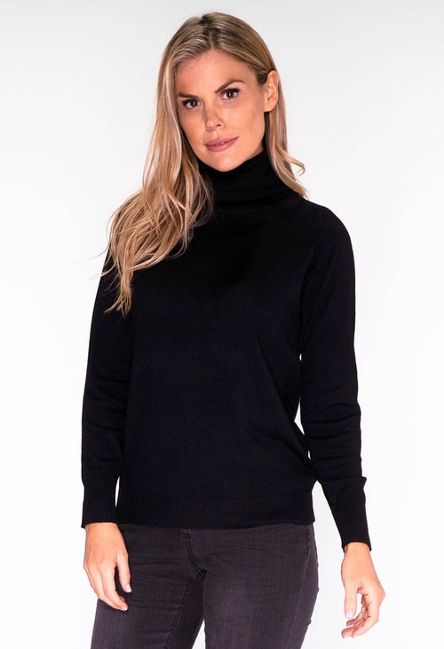 YOU YOU Black Knit Polo Neck