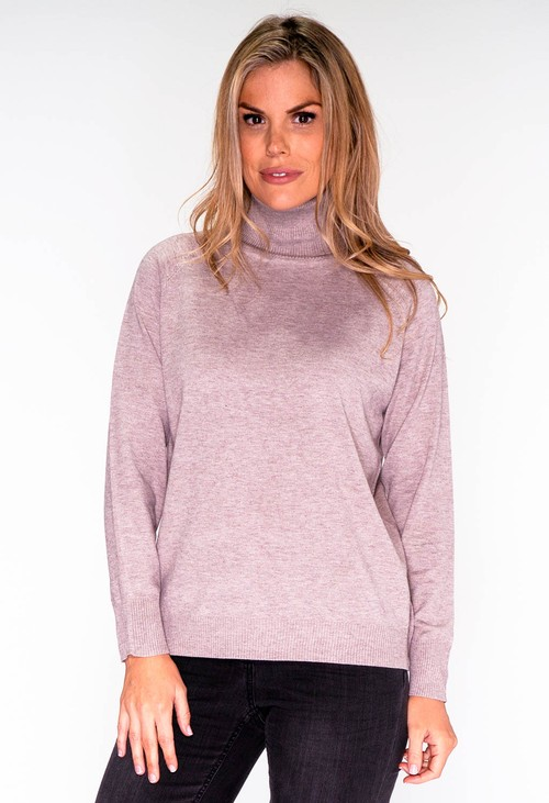 YOU YOU Taupe Knit Polo Neck