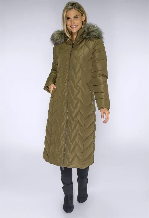 PS Collection Khaki Long Coat with Detachable Faux Fur Hood