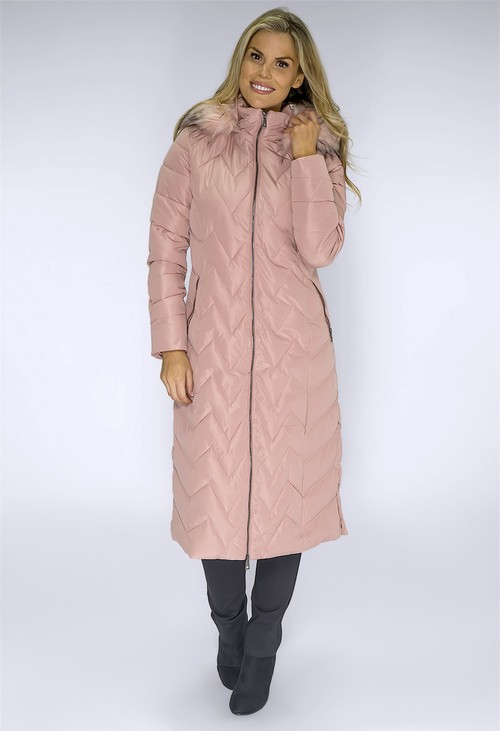 Pamela Scott Long Pink Coat with Detachable Faux Fur Hood