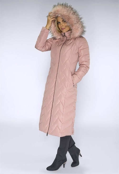 PS Collection Long Pink Coat with Detachable Faux Fur Hood