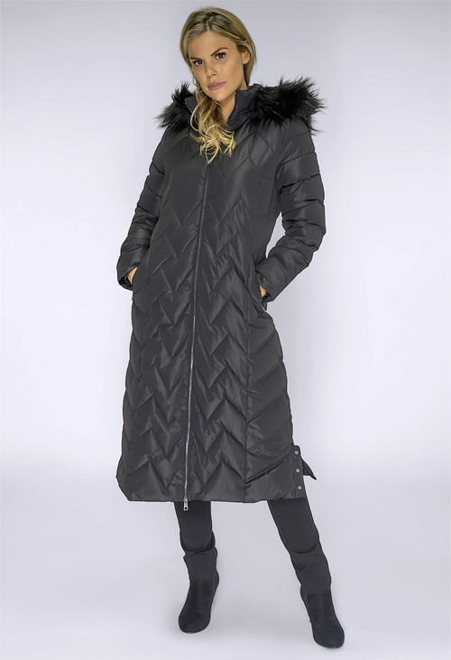 PS Collection Long Black Coat with Detachable Faux Fur Hood