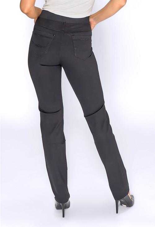 Pamela Scott Black Pull Up Trousers with Rhinestone Pocket Details