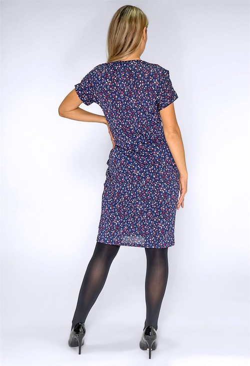 Zapara Navy Mini Floral Print Dress